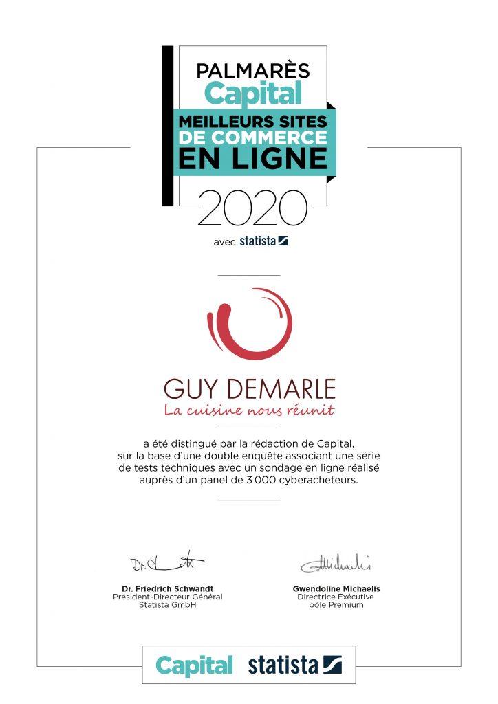 """Certificat """"Meilleurs sites de commerce en ligne 2020"""" pour Guy Demarle !"""