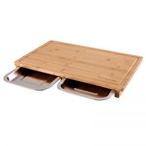 Planche à découper en bambou, avec tiroir inox